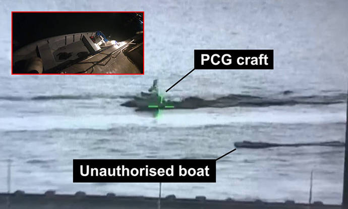 2 people jump off boat in attempt to illegally enter