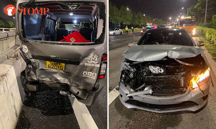Woman injured after van gets rear-ended by Merc on AMK South Flyover, husband appealing for witnesses - Stomp