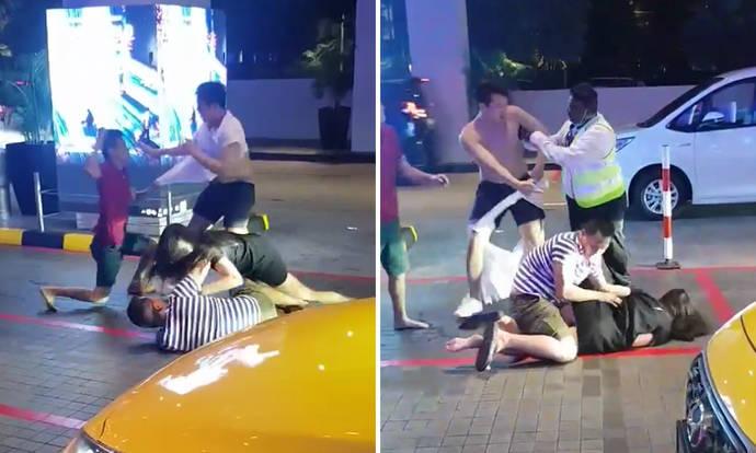 Backflip, torn shirt and vulgarities during fight involving 1 woman, 3 men outside MBS casino - Stomp