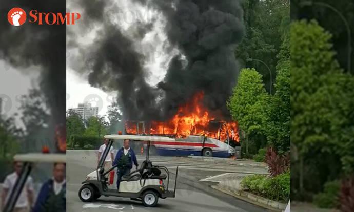 Passenger bus goes up in flames near Botanic Gardens - Stomp