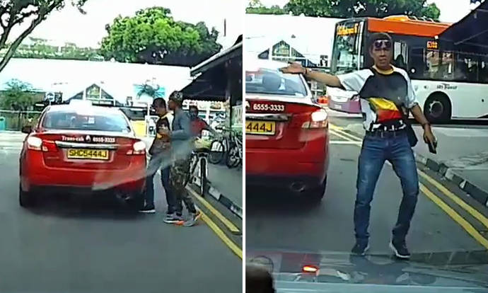 Man places foot under taxi, flees after witness says 'jagan tipu' and offers to show video to police - Stomp