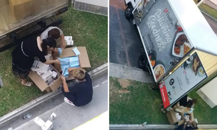NTUC Foodfare investigating incident of trio repacking masks with bare hands behind Foodfare truck - Stomp