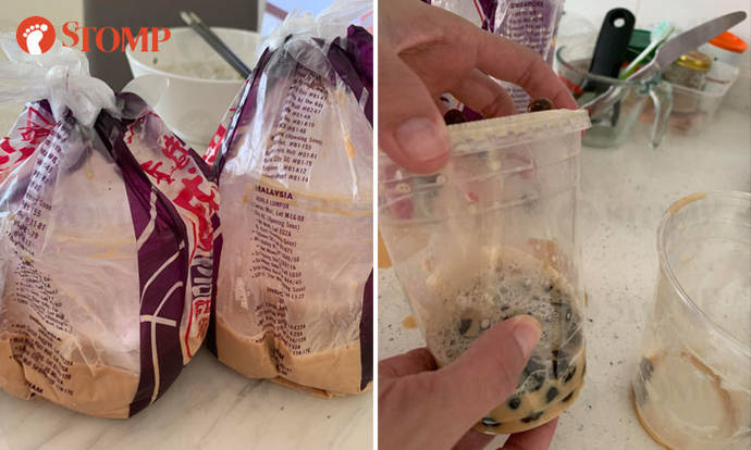 Foodpanda apologises after bubble tea from Sheng Kee Dessert arrives 'almost entirely spilt' - Stomp