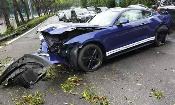 Car mangled in accident on CTE