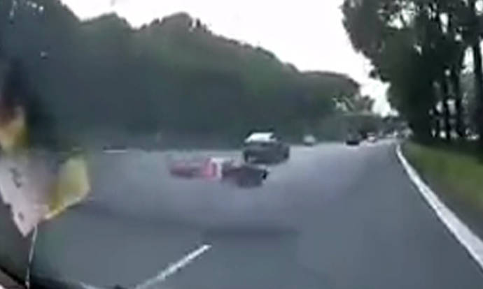 64-year-old motorcyclist sent sprawling on road after hit ...