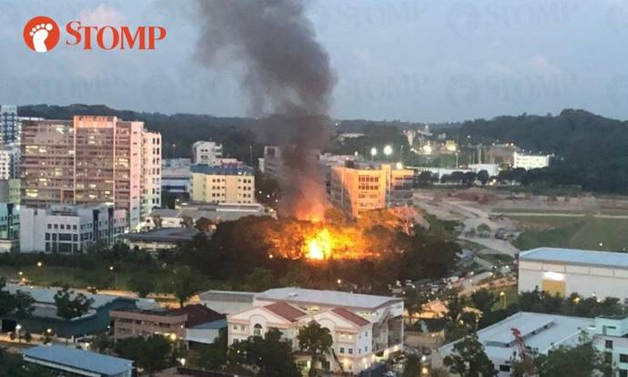 1 taken to hospital after fire involving scrap metal breaks out at Mandai Estate
