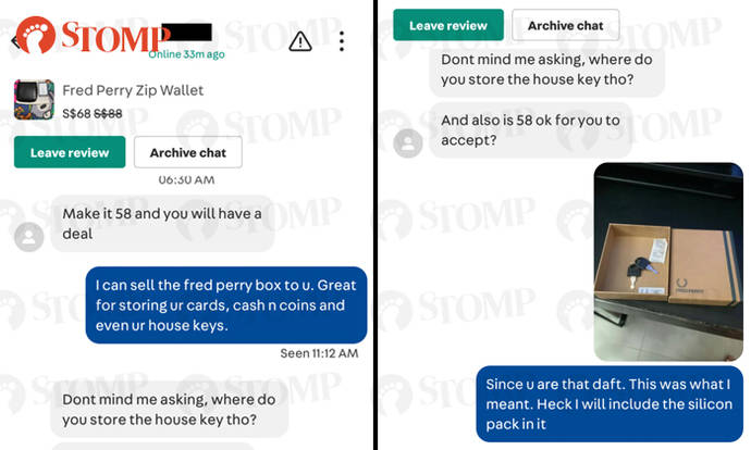 Carousell user trolls buyer who offered $58 for Fred Perry wallet: 'Lowballers deserve to be played'