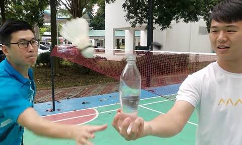 Badminton academy smashes bottle cap challenge -- with over 500 tries for one scene
