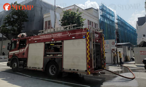Fire breaks out at construction site along Bras Basah Road