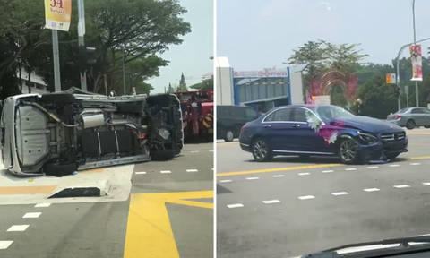 Driver taken to hospital after accident involving two cars in Sengkang