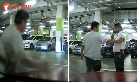 Guy punches bonnet of another driver's car at Changi City Point carpark