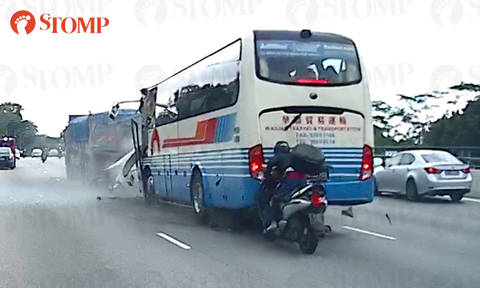 Video of BKE accident shows private bus colliding into trailer before motorcycle rams into bus