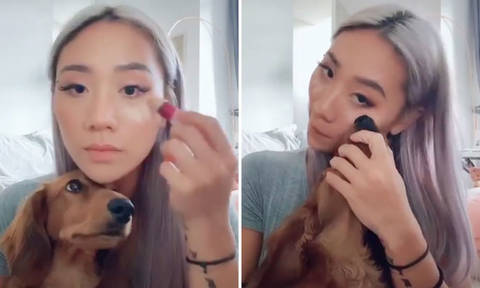 Singer Sandra Riley Tang responds to backlash after using dog's nose to apply make-up in Tik Tok video