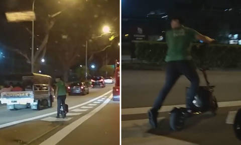 Grab looking into GrabFood rider using e-scooter on PIE
