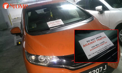 Motorcyclist leaves note for errant driver at Changi Business Park: 'I don't want to be killed by you'