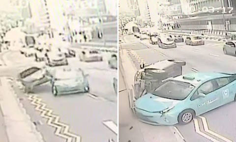 Robinson Road accident: Video shows how accident happened after cabby suddenly changed lanes