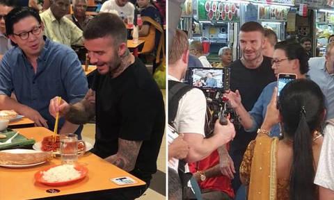 David Beckham drops by Tekka Market to enjoy a plate of mee goreng