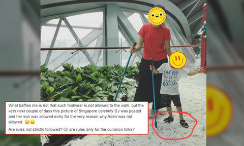 Celeb DJ Lim Peifen responds to flak after son allowed into Jewel attraction without proper shoes