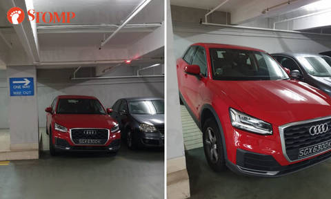 Audi driver parks on ramp at United Square, prevents woman carrying baby and stroller from using it