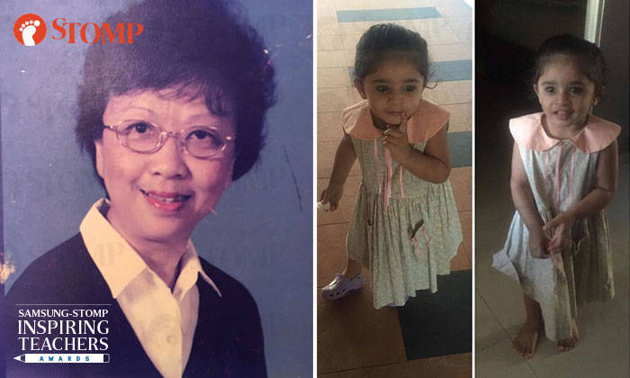 Mrs Chua (left) and Eza's daughter wearing the dress she made in Mrs Chua's class 20 years ago (right).