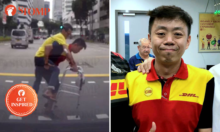 Anson Chung, 40, was caught on camera piggybacking an elderly man across the road on May 17.
