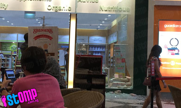 Glass panel shatters during busy lunch hour at Jurong Point