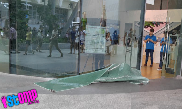 Loud 'bang' as glass door at Bedok Mall's nübox suddenly collapses