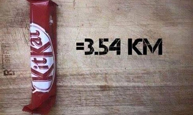 The number of kilometres you need to run to burn off all the calories for each food