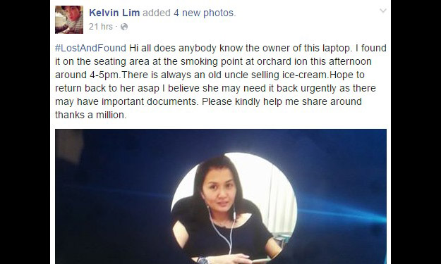 Facebook user who found woman's lost laptop: Stomp will be arranging for them to meet