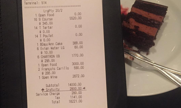 How much did you pay for your dinner last night? S'pore girl splashed out S$25,000 at US restaurant