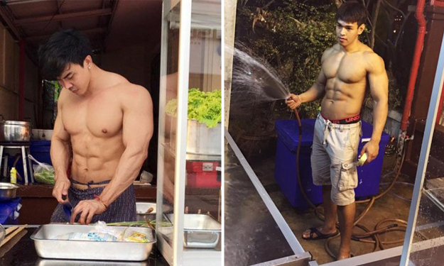 Macho owner and hunky stall assistants are as hot as the tom yum they sell in Thailand