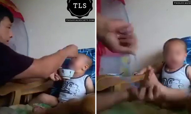 Man force-feeds crying baby, then hits him with hanger and curses when he refuses to eat