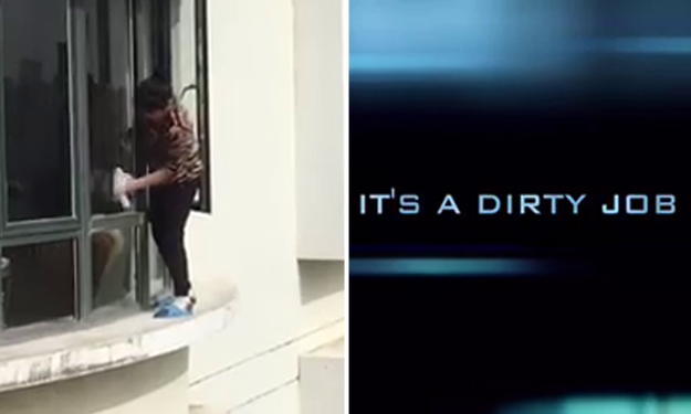 'Super auntie' cleaning window on ledge of 31st floor gets her own movie trailer -- and it's epic