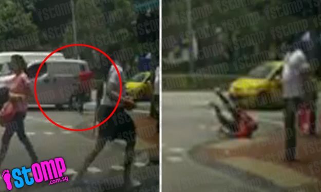 Jaywalker kicks van and falls after getting honked at -- then gets up to confront driver