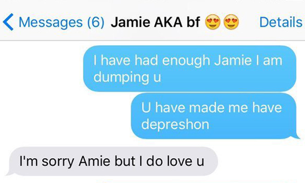 Hilarious texts show how 10-year-old girl dumps cheating BF
