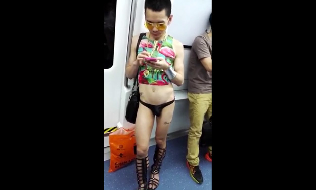 What in the world? Man in skimpy attire attracts stares from commuters on train